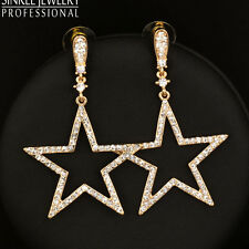 Hot Sale Shining Crystal Hollow Big Star Earrings For Women Lady 18K Yellow Gold