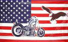 USA MOTORCYCLE AND EAGLE FLAG - 5x3 Feet - BIKE AND BIRD