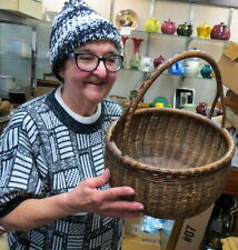 """early folk art woven reed basket RARE (Y) split handle & decorated 13"""" / clean"""