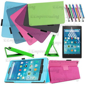 For Amazon Fire HD 8 Leather Stand Slim Folio Case Cover + HD 8 Screen Protector