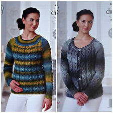 KNITTING PATTERN Ladies Long Sleeve Cable Jumper &Cardigan Chunky King Cole 4713