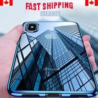 Clear Silicone Slim Soft Case Cover For iPhone 6/6S 7/8 Plus XS XR Plated Bumper