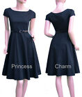 Black Red Vintage Style Cocktail Party Evening/Day Dress SZ 20 18 16 14 12 10 8