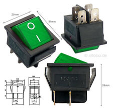 Beleuchteter Wippschalter grün 12V 35A EIN-AUS Schalter Lichtschalter #MK621g