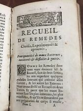 LIVRE RECUEIL DE REMEDES DE FOUQUET TOME 1 MEDECINE MAUPEOU