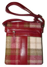 40% OFF RRP £59.50!! Mala leather abertweed crossbody bag red and green leather