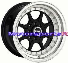 16 16x8 XXR 002 Black Rims Wheels Deep Dish Step Lip 4x4.5 Fits Datsun 240z 280z