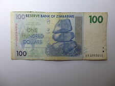 Old Zimbabwe Paper Money Currency - 2007 $100 - Well Circulated