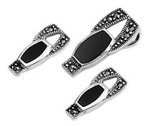 USA Seller Black Marcasite Set Sterling Silver 925 Earrings & Pendant Jewelry