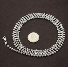 """Mens 30"""" 3.0mm Half Moon Bead Ball Necklace Chain 4 Dog Tag Sterling Silver 925"""