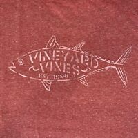 Vineyard Vines Men's S/S Pocket T-Shirt Tuna Stencil Jetty Red Sz L- NEW TAGS