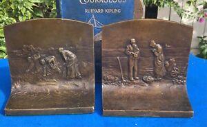 antique Griffoul solid bronze bookends,  Millet Scenes, circa 1911, J.L. Lambert