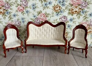 1/12 Dolls House Cream Heart Patterned Sofa And Chairs Bundle