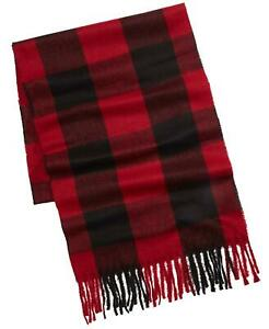 Alfani Men's Buffalo Plaid Scarf- Black/Red