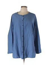 100% Silk 1X Eileen Fisher French Blue Button Down blouse