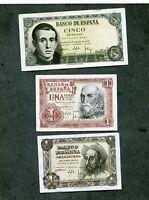 LOTE 3  BILLETES  1 PESETA 1951 ,  1953 ,  5   1951  los 3 de la foto   SC