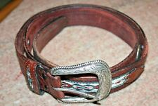 "Vintage Wrangler Western Belt top grain leather inlaid beads 45"" #5907 brown"