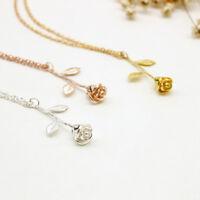 1x Damen Rosen Blumen Anhänger Halskette Gold Silber Choker Frauen Schmuck Pro