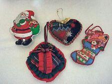 VINTAGE Christmas Ornaments Handmade Stuffed LOT OF 4