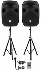 Rockville RPG122K Dual 12 Powered Speakers Bluetooth Mic Speaker Stands Cables