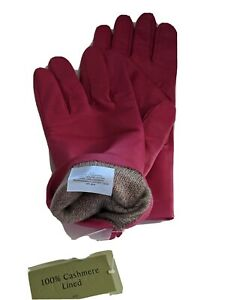 Fownes 100% Cashmere lined Leather Gloves, Hot Pink , XXLarge-8.5