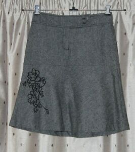 """DAVID LAWRENCE Ladies Lined Grey Wool Mix Skirt ~ Size 8 ~ 23"""" Long"""
