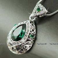 Emerald Green & Diamond Crystals Women Necklace Birthday Presents for Her J241E