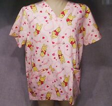Disney Scrubs Top Winnie the Pooh Bee Mine Hearts Medium 8/10 Nurse Dental