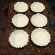 "Six Royal China Cream Pattern # Midas 22KT Gold Dessert Bowls 5 1/2"""
