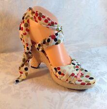 Nine West Strap Up Leg Espadrille Sandals Multi Polka Dot