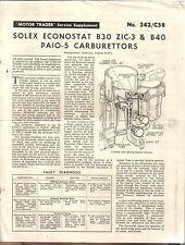 SOLEX econostat B30 ZIC-3 & B40 paio - 5 carburateurs Motor service data 342 1960