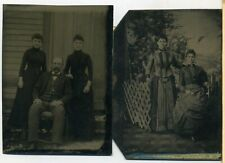 Two Nice Tintypes- Father and Daughters- Fancy Girls