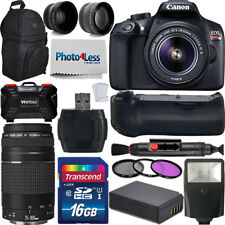 Canon EOS Rebel T6 DSLR Camera + 18-55mm IS II + 75-300mm + Battery Grip Top Kit