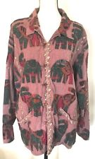 Gantos Women's Ethnic Boho Embroidery Applique Elephant Jacket Blazer Multi S/M