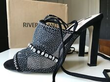 RIVER ISLAND Wonderful Ladies High Heel Sandal Shoe Silver Black Size 7 40