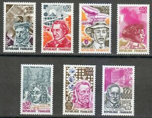 France 1973 MNH Sc B463-B469 Famous Frenchman.Science.Military.Writer.Chemist **