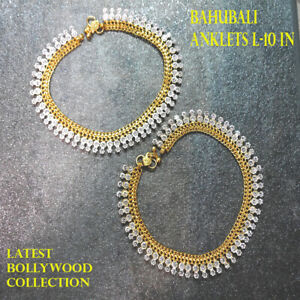 Traditional Bollywood SILVER WITH DIAMONDS Anklets Indian Payal studded