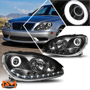 For 00-06 Mercedes S-Class W220 LED Strip DRL Projector Headlight Black Housing