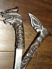 Sumatra DRAGON dagger short sword KERIS KRIS carved sheath MALAY JAVANESE signed