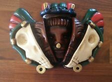 Vtg Reproduction Red, Green, Gold Aztec 3 Faces of Life Ceramic Wall Hanging