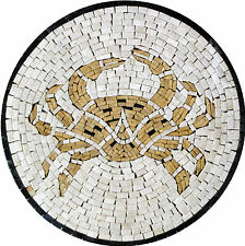 Gold Crab Medallion Pool Floor Decoration Art Marble Mosaic IN155