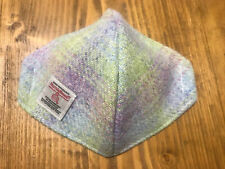 """Quality Pistachio& Heather Lilac """"Harris Tweed"""" Silk-lined Face Cover/mask"""