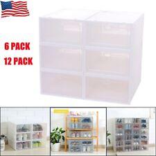 6pcs/12pcs Foldable Shoe Box Storage Plastic Case Stackable Container Organizer