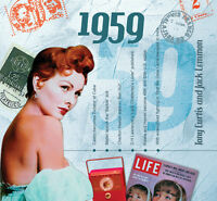 60th BIRTHDAY GIFT- 1959 Compilation Pop CD and Year Greeting Card
