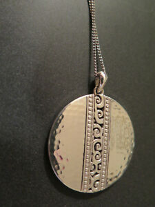 "Brighton 14"" silver necklace with Round Pendant/ Gift Packaging"