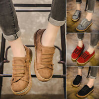 Women Comfy Flat Fashion Round Toe Faux-Suede Loafers Casual Slip On Shoes Lady