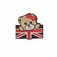 Cute Bear union jack (Iron on) Embroidery Applique Patch Sew Iron Badge