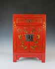 A Chinese Antique Red Lacquer birds butterfly paint style design 2 door closet