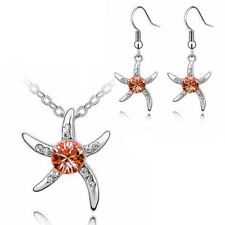 Women's Silver Starfish Necklace & Earrings Set Pink Crystal Stone Gift UK