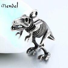 MENDEL Raptors Fossil Dinosaur Bone Pendant Necklace Men Stainless Steel Jewelry